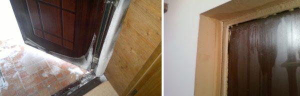 Промерзание и скопление конденсата на двери приводит к быстрой порче самого полотна и дверной коробки