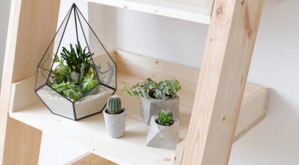 Если спальня маленькая, лучше предпочесть искусственные растения небольшого размера