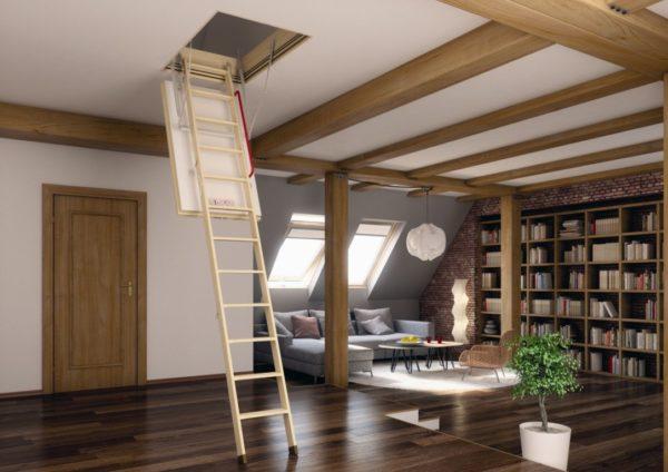 Современные строительные технологии и материалы позволяют устроить вполне безопасный, и не ограничивающий площадь нижнего этажа, подъем на чердак