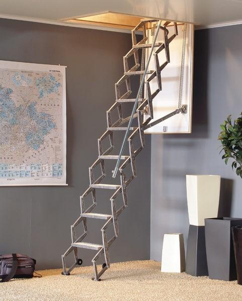 Лестница гармошкой занимает меньше всего места в помещении