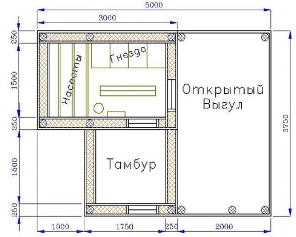 Пример чертежа курятника для самостоятельного строительства