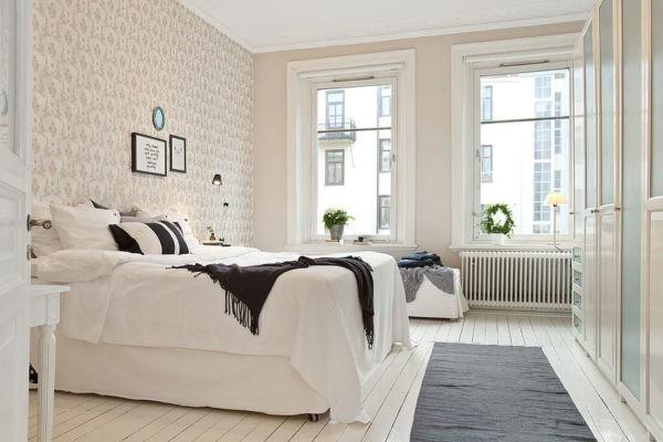 Дощатый пол лучше всего подходит для спальни в скандинавском стиле