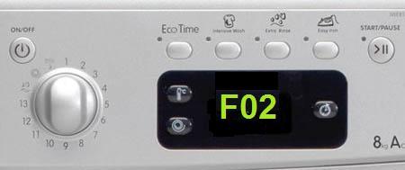Код F02 свидетельствует о проблемах с барабаном