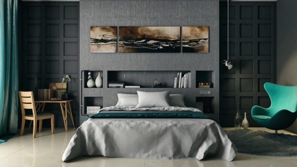 В отделке спальни необязательно использовать именно черный цвет - сочетание серого с зеленым тоже смотрится эффектно и стильно