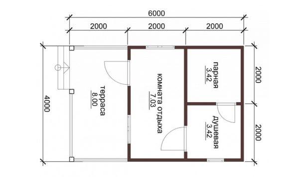 Баня из профилированного бруса 4x6 метров с комнатой отдыха и террасой