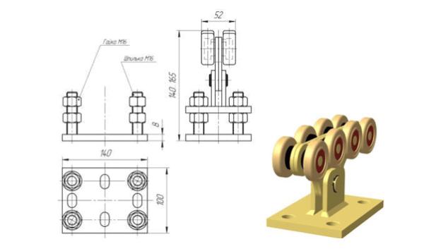 Конструкция каретки для откатных ворот