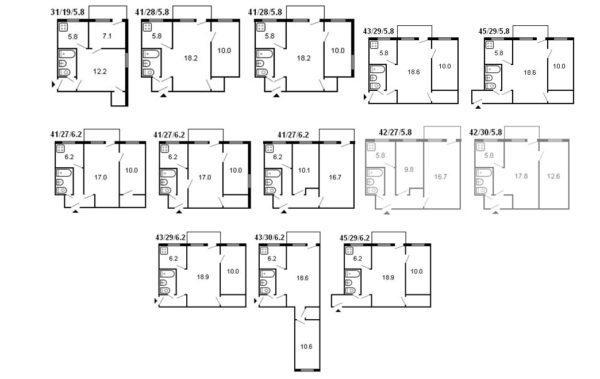 Варианты планировок квартир