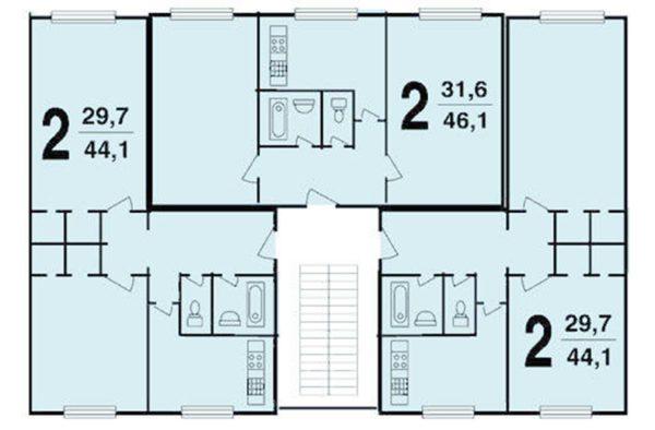 В основном дома этой серии строились с 1-, 2- и 3-комнатными квартирами, по три квартиры на этаже
