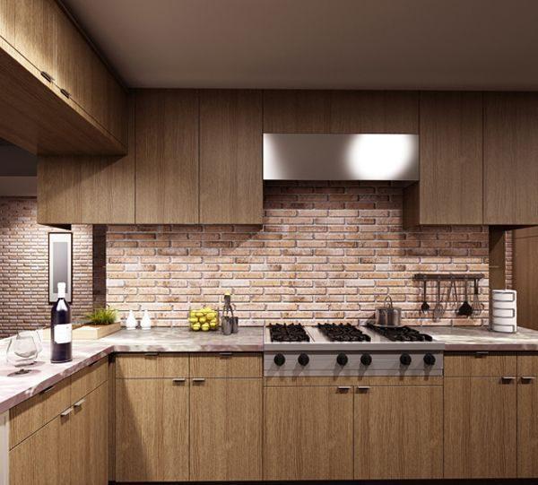 Гипсовая плитка в интерьере кухни