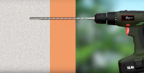 Глубина зависит от длины дюбеля