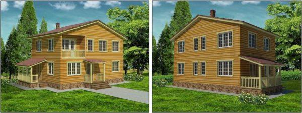 Каркасный двухэтажный жилой дом
