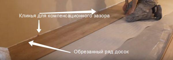 Клинья для компенсационного зазора, обрезанный ряд досок