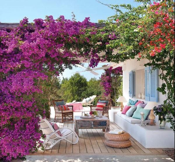 Красивая открытая веранда с плетущимися цветами