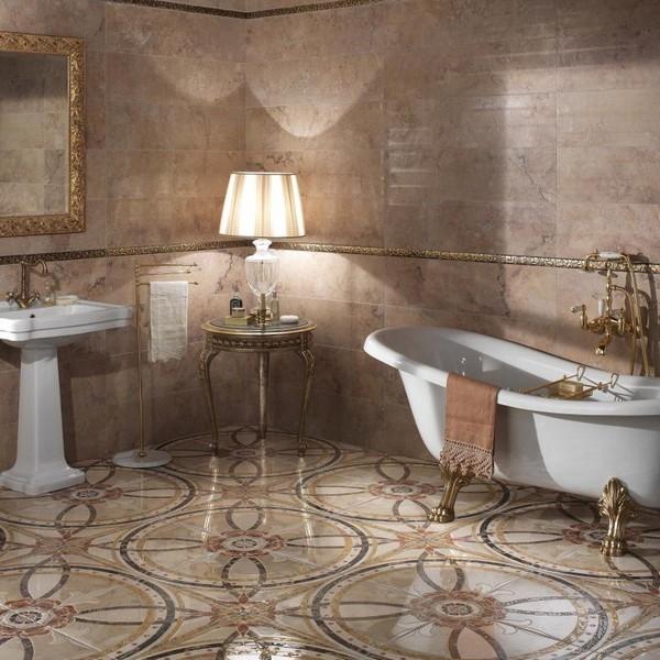 Красивый пол из керамогранита в ванной