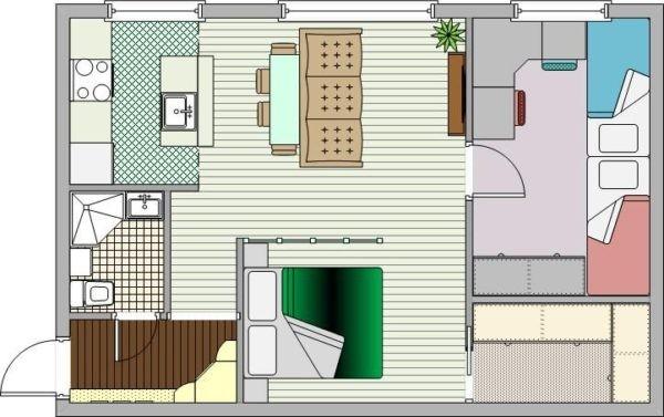 Перепланировка двухкомнатной хрущевки (спальня, детская, кухня-гостиная)