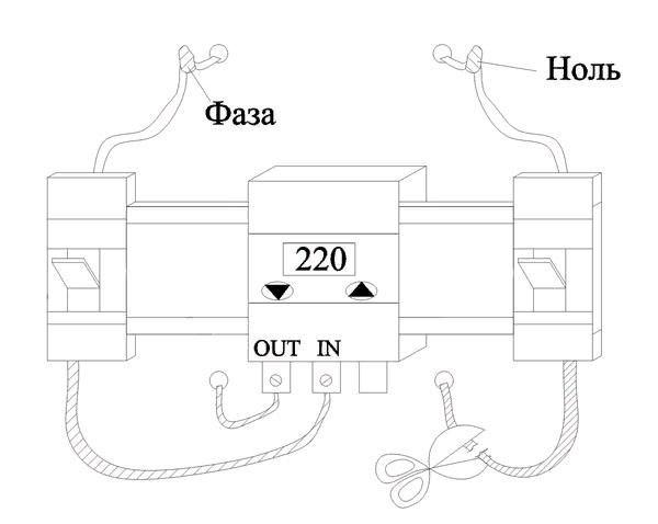 Подключаем отрезок провода к нейтрали