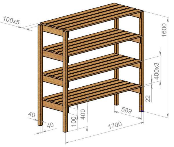 Примерная схема стеллажа из дерева
