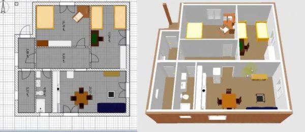Пример объединенных кухни и гостиной – план и 3D модель
