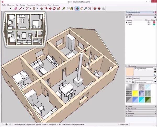 Пример планировки дома размером 10х8 с центральной несущей стеной