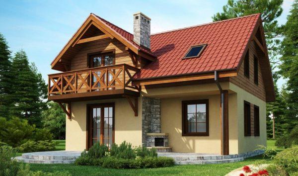 Проект дома размером 8x10 м с мансардой