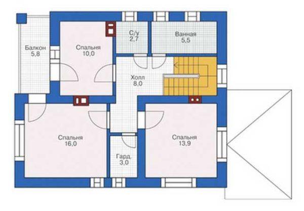 Проект кирпичного дома площадью 146.9 м2