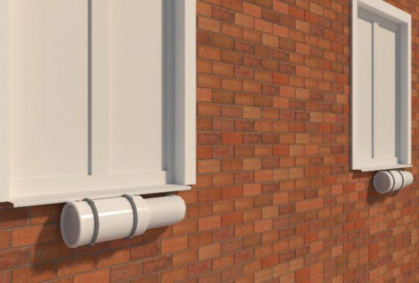 Рекуператор, имеющий канальное устройство, размещают на балконе, или навешивают на фасад дома