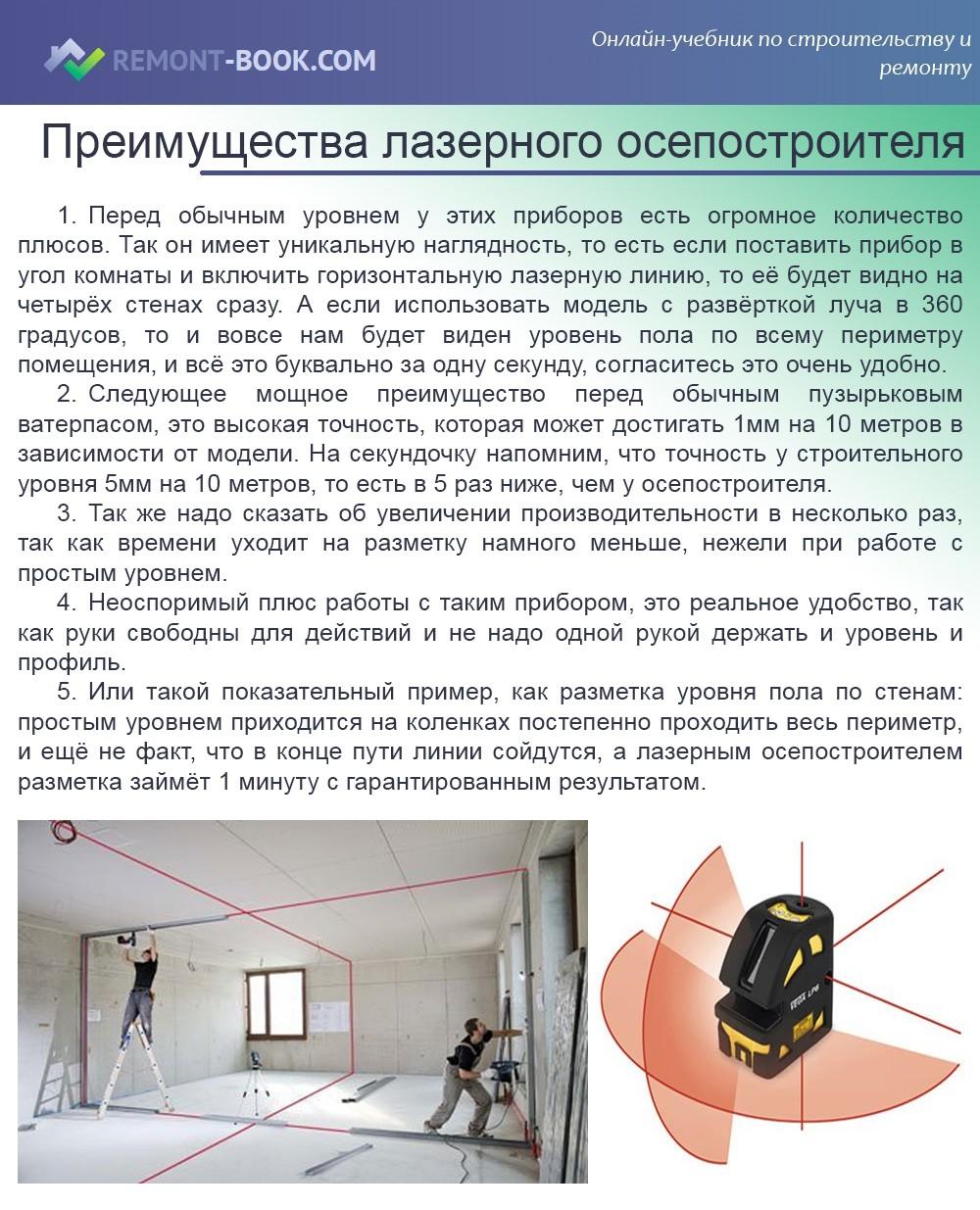 Преимущества лазерного осепостроителя
