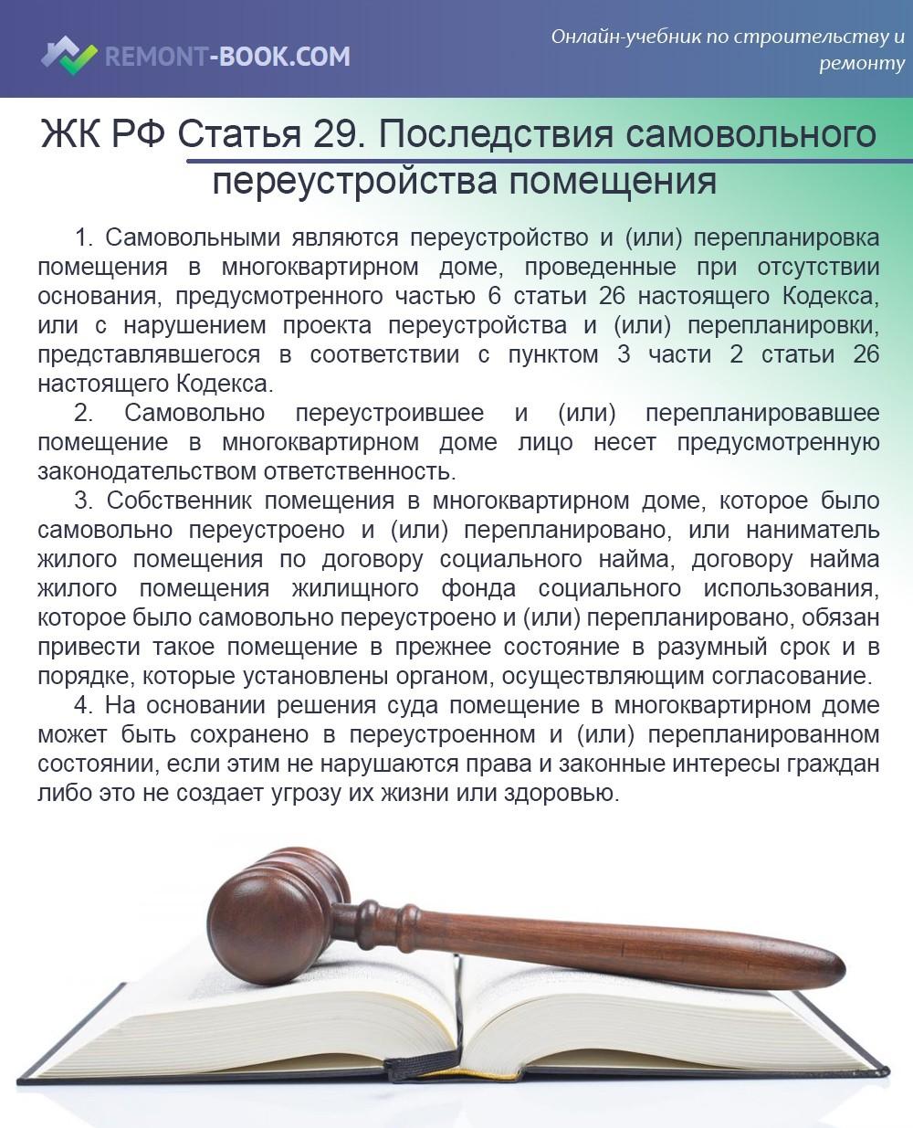 ЖК РФ Статья 29. Последствия самовольного переустройства и (или) самовольной перепланировки помещения в многоквартирном доме