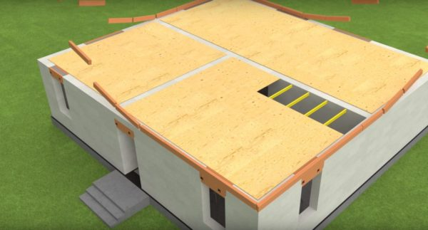 Укладка материала по периметру здания