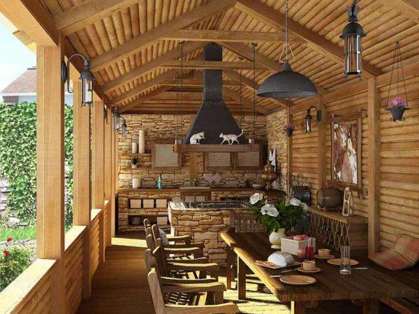 Шикарная веранда в деревенском стиле для теплых семейных посиделок