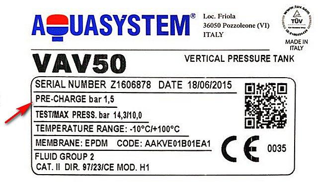 Шильдик гидроаккумулятора «AQUASYSTEM VAV50» — указано предустановленное давление в воздушной камере в 1,5 бар(атмосфер).