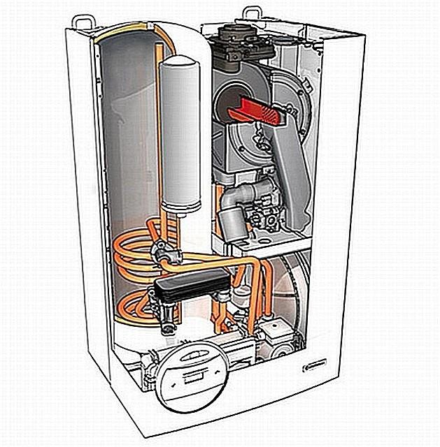 Настенный двухконтурный газовый конденсационный котел со встроенным бойлером косвенного нагрева.