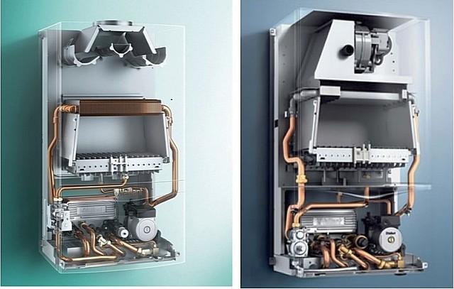 Идентичные по основным своим параметрам модели двухконтурных котлов одного производителя. А разница в том, что левая – с открытой камерой (атмосферная), правая – с закрытой камерой (хорошо виден вентилятор).