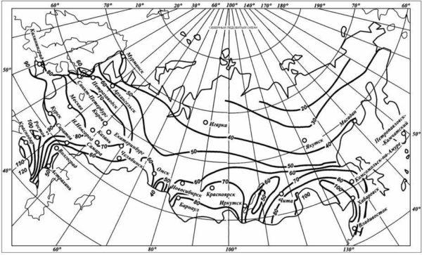 Карта-схема для определения коэффициента интенсивности атмосферных осадков.