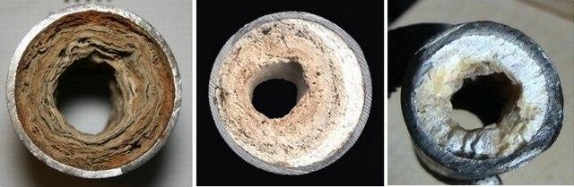 Трубы могут зарасти окислами или солевыми отложениями, и зауженные каналы не дают требуемого напора.