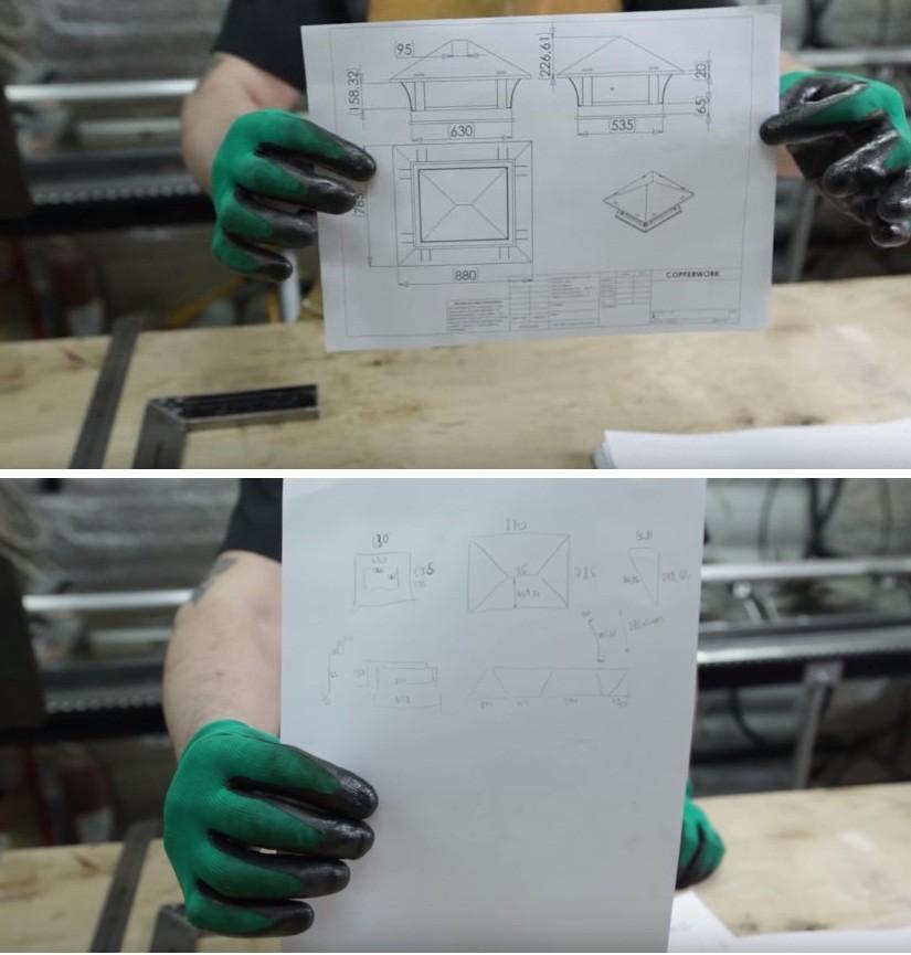 Чертеж можно сделать на компьютере или нарисовать от руки