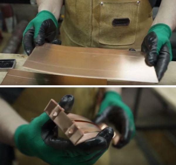 Заготовки ножек пропускаются через гибочный станок и просверливаются под крепежи