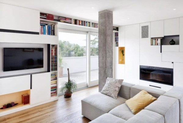 Наличие колонны – отличный повод для оформления квартиры в стиле лофт