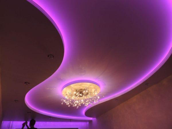 Комбинированный потолок из гипсокартона и натяжного ПВХ полотна