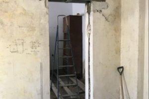 Шаг 5 – вырезание стены под перемычкой