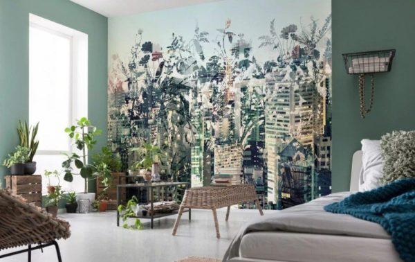Сюжет соответствует стилю эко, в котором оформлена комната