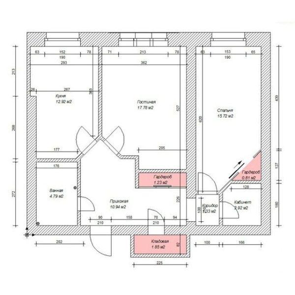 Для многих людей перепланировка двухкомнатной квартиры «хрущевки» является единственным вариантом 43 кв метра превратить в более комфортные условия