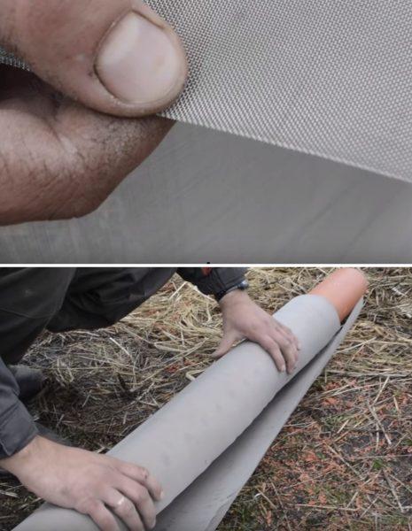 Металлическая сетка наматывается поверх проволоки