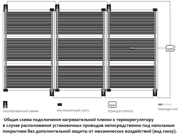 Вторая схема укладки и подключения проводов