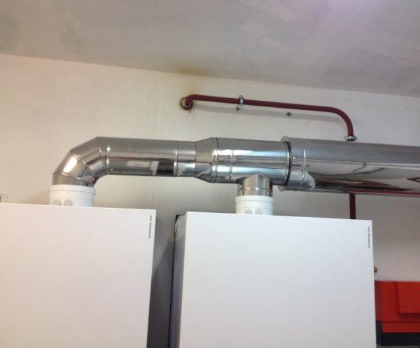 Дымоход на два котла – диаметр трубы увеличивается по ходу