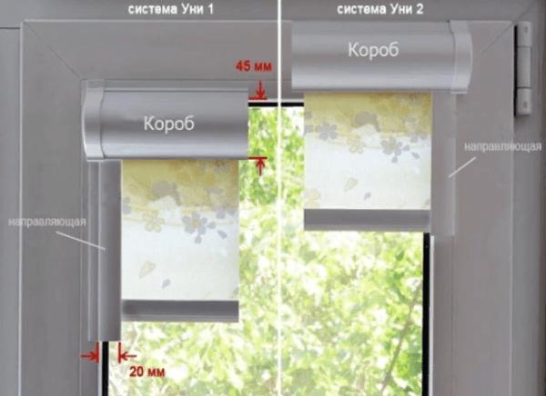 """В отличие от """"Уни 1"""" рулонные шторы """"Уни 2"""" сохраняют световой проем и могут устанавливаться практически на любые окна"""