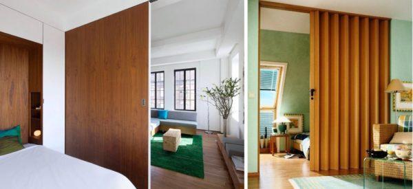 Для разделения спальни и гостиной как нельзя лучше подходят деревянные перегородки