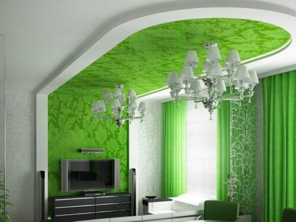 Потолочно-стеновая гипсокартонная конструкция, декорированная тканью