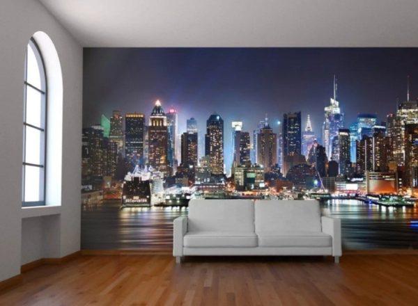 Небоскрёбы Манхеттена в обычной гостиной
