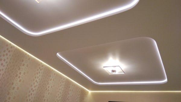 Гипсокартонный короб придает парящему потолку нужную форму